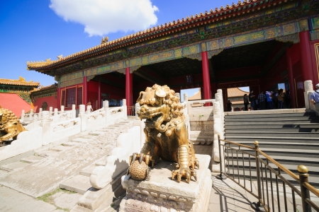 Beijing, China - May 30, 2012: bronze lion in Forbidden City.the Forbidden City was built in 1420,it remain intact through the Ming and Qing dynasty.Both in Ming and Qing dynasty,the emperors lived in Forbidden City and managered this country.It is includ