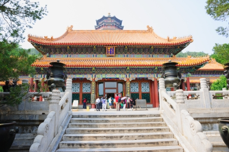 summer palace: Beijing, China - June 1, 2012: Hall of Dispelling the Clouds where in Summer Palace was built in Qing Dynasty,but it destroyed by the Anglo-French Allied Forces in 1860 and rebuilt by Qing Government.Empress Dowager Cixi met ministers just in here in her