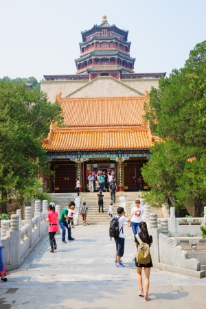 royals: Beijing, China - June 1, 2012: Summer Palace is a very famous tourist place in Beijing,China.it was built during 1750-1764,it is the largest ancient Royal garden in the world,in the Qing Dynasty,the Royals relaxed in Summer Palace.It was destroyed by the  Editorial