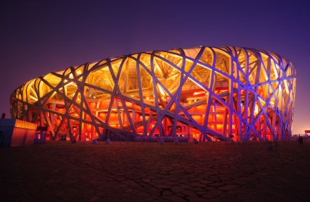 Beijing, China - June 1, 2012: Beijing National Stadium(Birds Nest) is the 2008 Summer Olympics main stadium,and it also was host to the Opening and Closing ceremonies.The modern and abstract design,made the Birds Nest becoming the landmark of Beijing,e