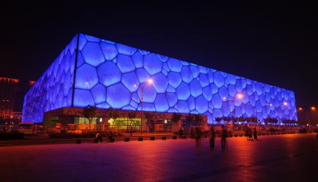 olympic sports: Beijing, China - June 1, 2012: The Beijing National Aquatics Center(the Water Cube) is the 2008 Summer Olympic Games swimming stadium.The modern and abstract design,made the Water Cube becoming the landmark of Beijing,even China.this photo was take in nig