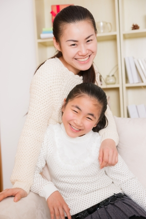 mother and daughter at home photo