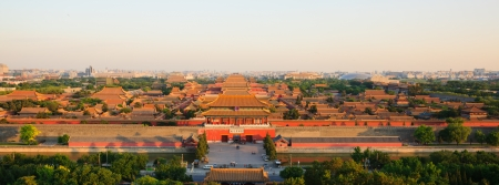 overlook the Forbidden City in evening.the Forbidden City was built in 1420,it remain intact through the Ming and Qing dynasty.Both in Ming and Qing dynasty,the emperors lived in Forbidden City and managered this country.It is included in the UNESCO world