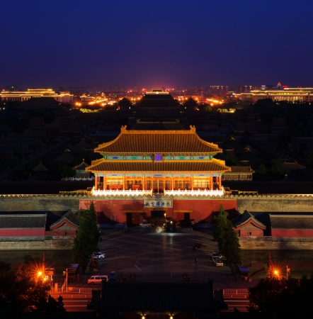 overlook the Forbidden City,night scene.the Forbidden City was built in 1420,it remain intact through the Ming and Qing dynasty.Both in Ming and Qing dynasty,the emperors lived in Forbidden City and managered this country.It is included in the UNESCO worl