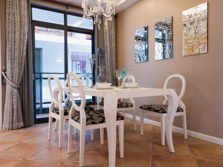 window curtains: modern dining room with nice decoration