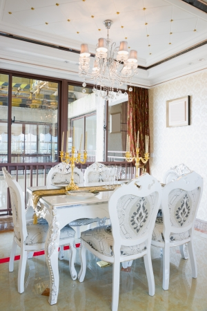 the dining room with luxury decoration and nice furniture photo