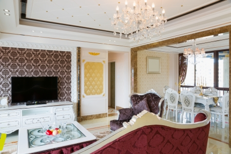 the living room with luxury decoration and nice furniture photo