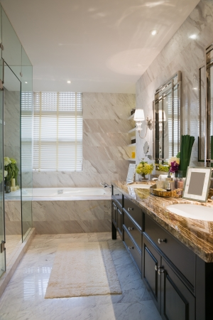 luxury bathroom with nice decoration photo