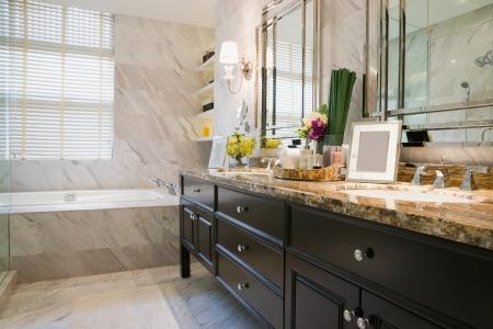 Luxus-Badezimmer mit schöner Dekoration Standard-Bild - 23372713