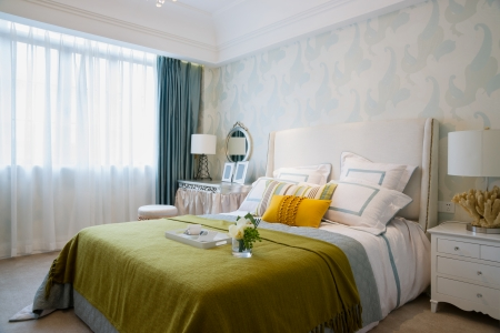 comfortable bedroom with nice decoration Banque d'images