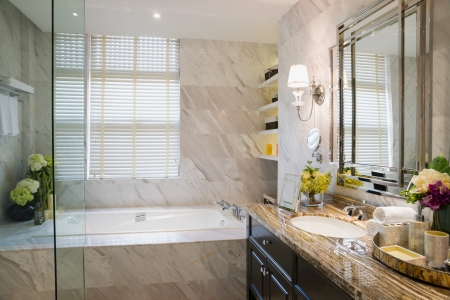 luxury bathroom with nice decoration