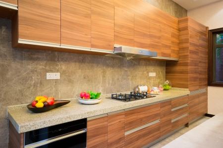 modern kitchen with nice cabinet