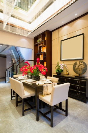 luxury dining room with nice decoration photo