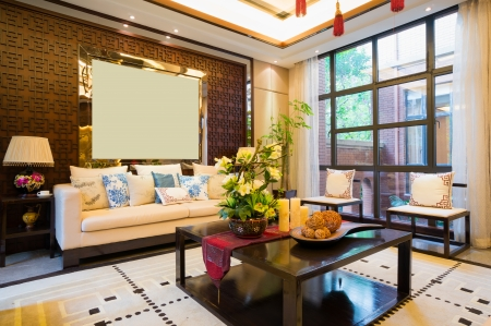 luxury living room with nice decoration of Chinese style photo