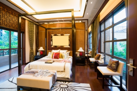 luxury comfortable bedroom with nice decoration of Chinese style photo