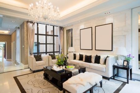 luxe woonkamer met mooie decoratie