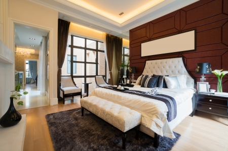 luxury comfortable bedroom with nice decoration