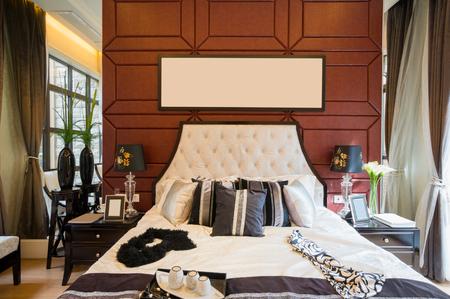 luxury comfortable bedroom with nice decoration photo