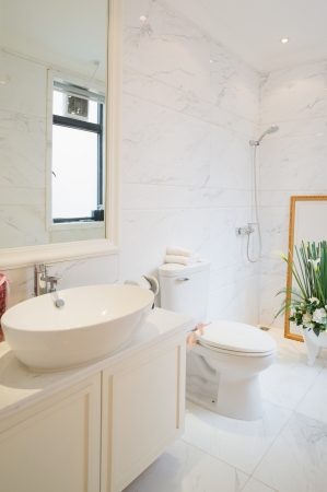the sink and mirror in a modern bathroom Stock Photo - 24225963