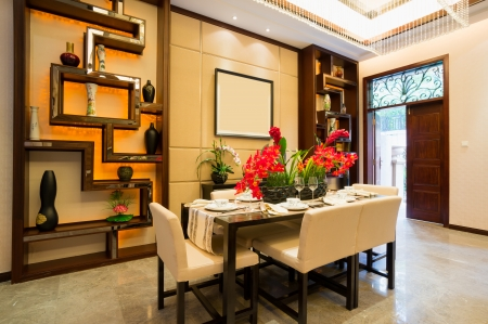 dining room: dining room with nice decoration of Chinese style