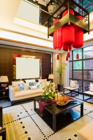 luxury living room with nice decoration of Chinese style Stock Photo - 24282910