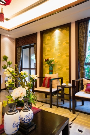 luxury living room with nice decoration of Chinese style Stock Photo - 24282913