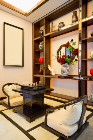 living room with nice decoration of Chinese style Stock Photo - 24282937