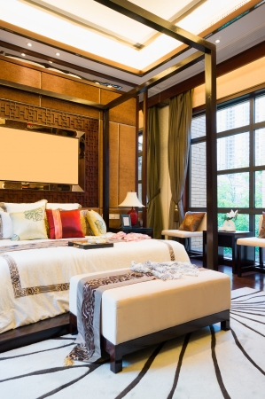 luxury comfortable bedroom with nice decoration of Chinese style Stock Photo - 24282978