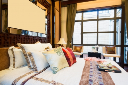 luxury comfortable bedroom with nice decoration of Chinese style Stock Photo - 24282980