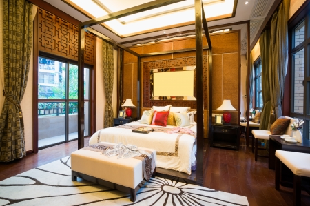 luxury comfortable bedroom with nice decoration of Chinese style Stock Photo - 24283000