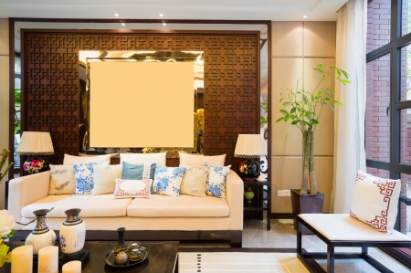 luxury living room with nice decoration of Chinese style