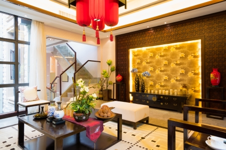luxury living room with nice decoration of Chinese style Stock Photo - 24283016