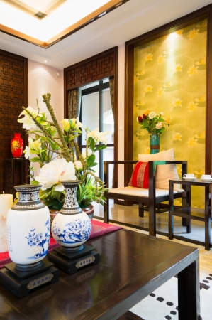 luxury living room with nice decoration of Chinese style Stock Photo - 24283019