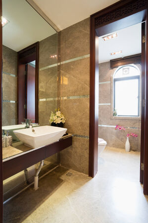 modern bathroom with mirror and sink Stock Photo - 24283023