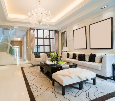 luxury living room with nice decoration Stock Photo - 24283046