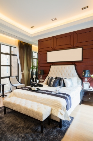 luxury comfortable bedroom with nice decoration Stock Photo - 24283082