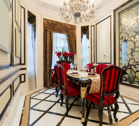 luxury dining room with very nice decoration Stock Photo - 24283176