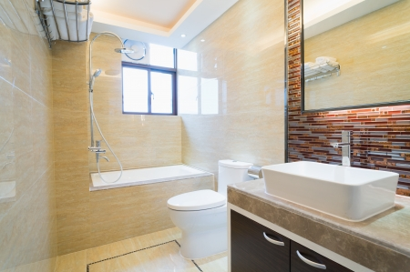 modern bathroom with nice decoration Stock Photo
