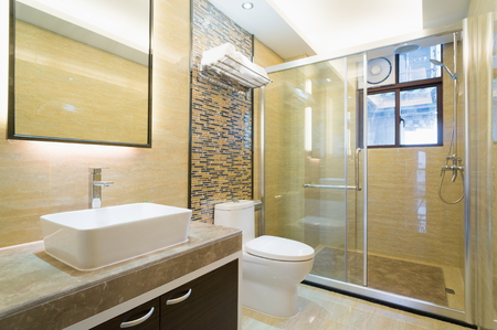 shower: modern bathroom with nice decoration Stock Photo