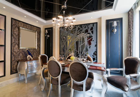 the dining room with luxury decoration photo