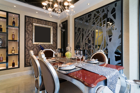 dining room: the dining room with luxury decoration Stock Photo
