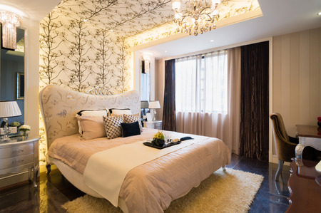 bedroom furniture: luxury bedroom with nice decoration