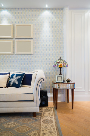 table lamp: living room with nice design and decoration Stock Photo