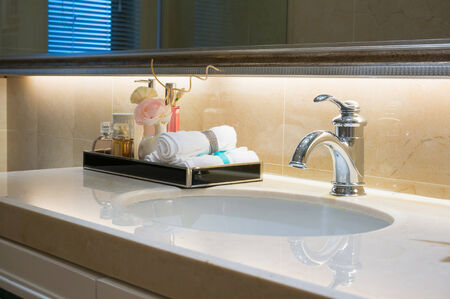 bathroom sink: sink and tap in modern bathroom
