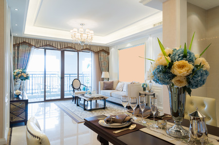 luxury home interior with nice decoration photo