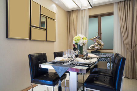 modern dining room: modern dining room with nice tableware