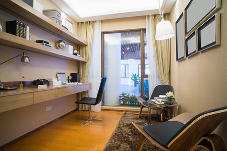 modern study room with nice bookself