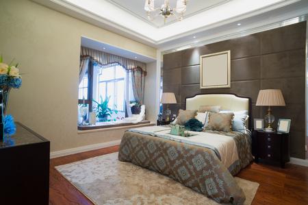luxury bedroom with nice decoration photo