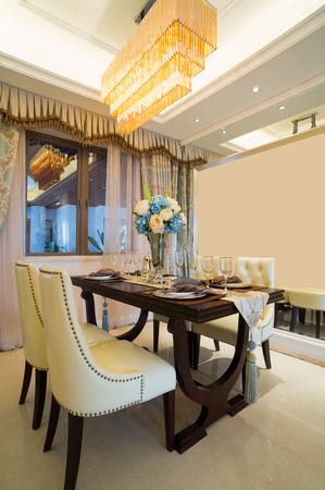 luxury dining room with nice decoration and furniture photo