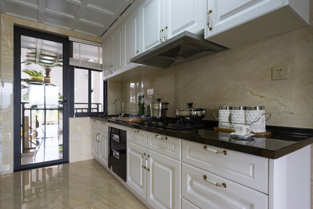 tiled wall: domestic kitchen with nice cabinet